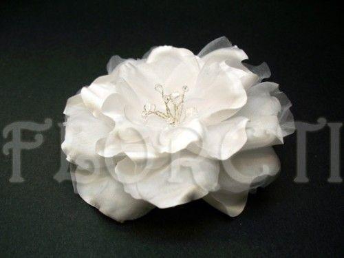 White Gardenia Bridal Flower Dress Hair Clip Swarovski Crystal Wedding Bridal Hair Accessories Flower Flower Hair Accessories Embellished Wedding Dress