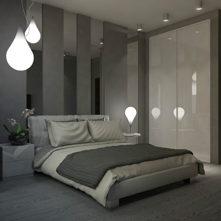 Wandgestaltung im modernen Schlafzimmer - Graue Wandfarbe und ...