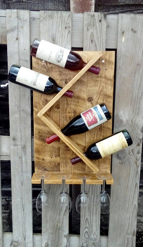 Wine Rack And Glass Holder Hand Made Rustic Pallet Wood Wine