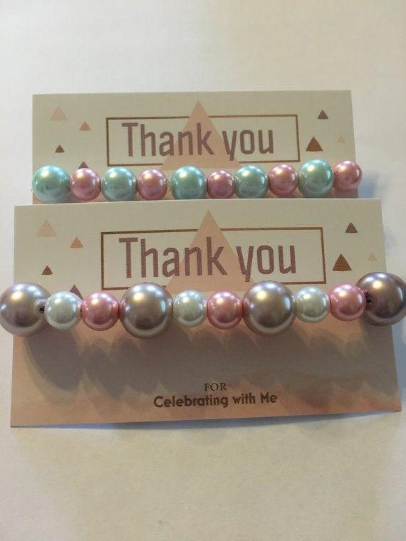 lot of 10 Baby Shower Favors Pearl Bracelets (customizable) CHEAP