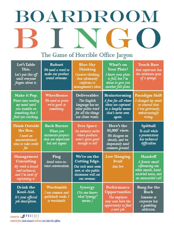 Boardroom Bingo The Game Of Horrible Office Jargon Word