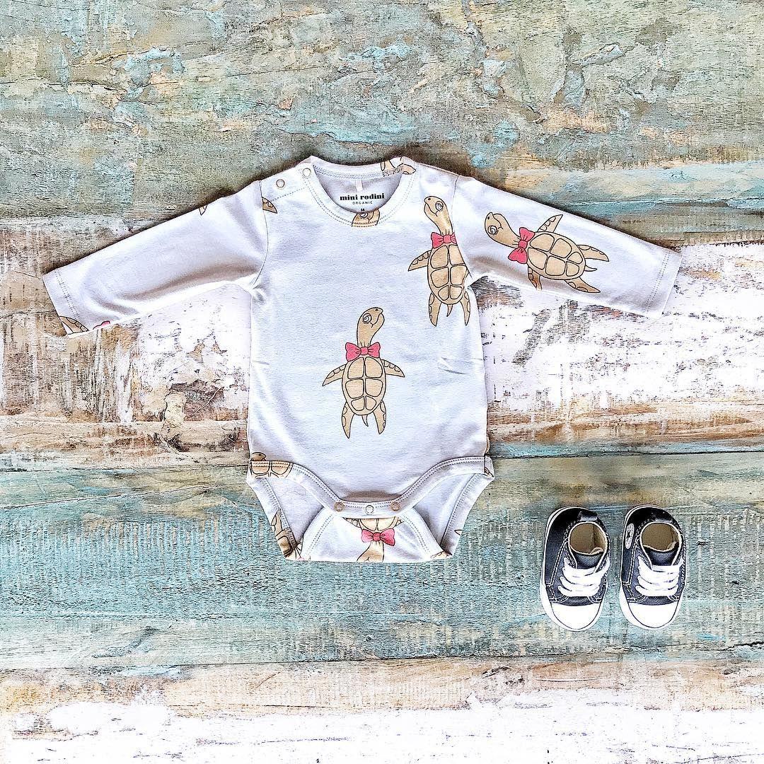 Organic Baby Clothes Minirodini Organic Turtle Bodysuit