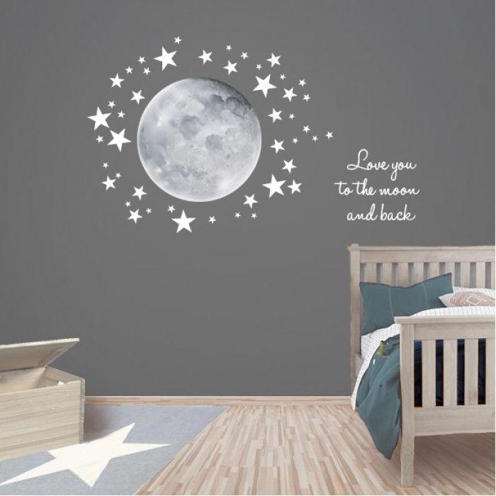 Muurstickers Sterren Grijs.Muurstickers Maan Sterren Love You To The Moon In 2019