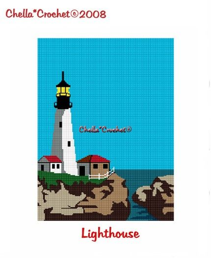 Crochet Lighthouse  Afghan Crochet Pattern Graph Chart .PDF