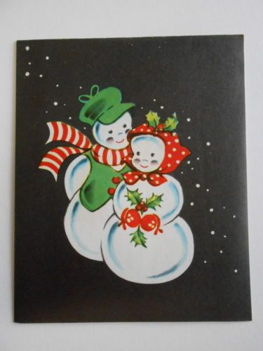 Snowman-couple-Anthropomorphic-1950s-Vintage-used-Christmas-Greeting-Card
