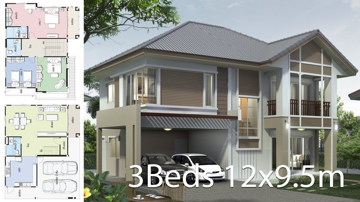 Home Design Plan 12x9 5m With 3 Bedrooms Home Design With Plansearch Home Design Plan House Design Home Design Plans