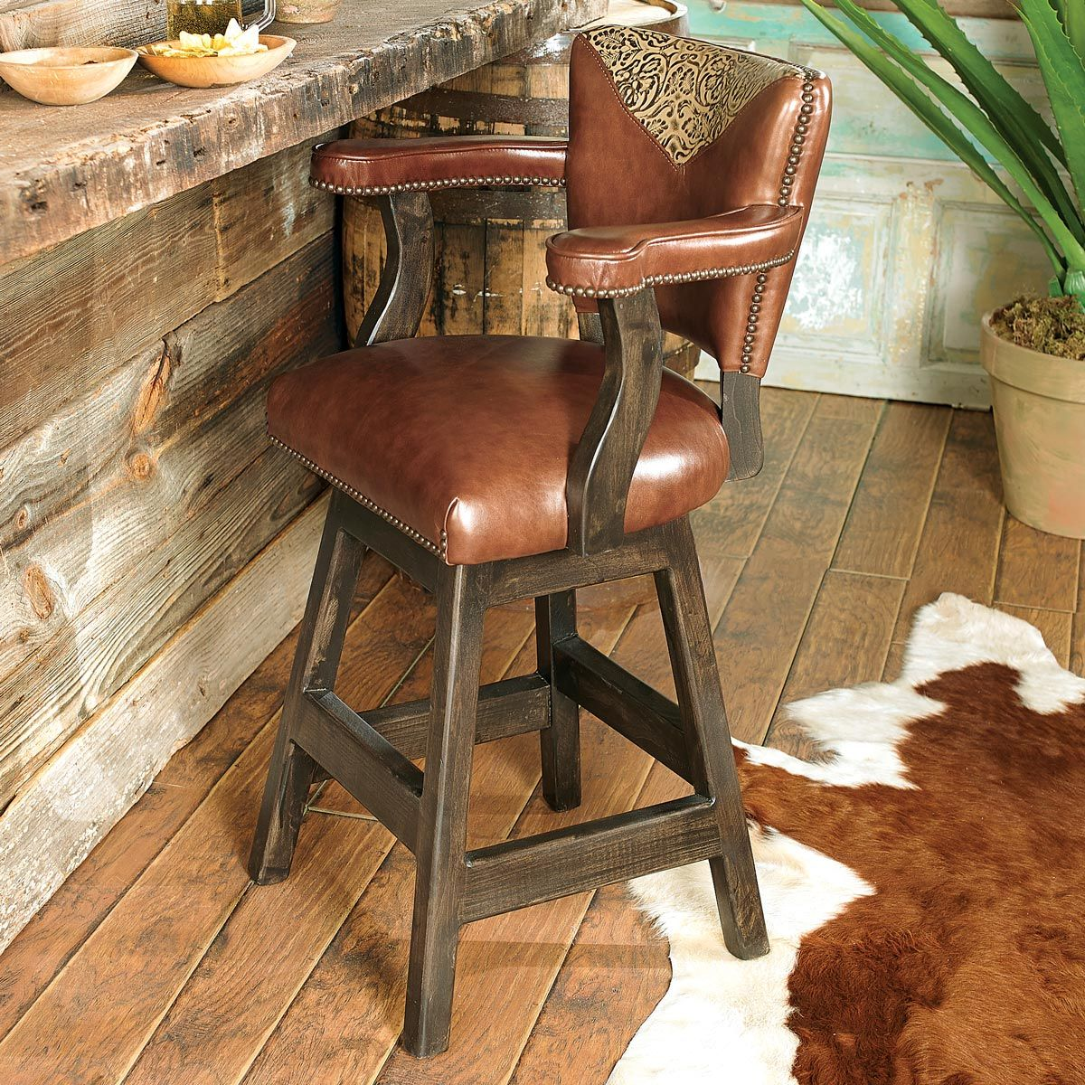 Western furniture waller western tooled leather barstoollone star western decor