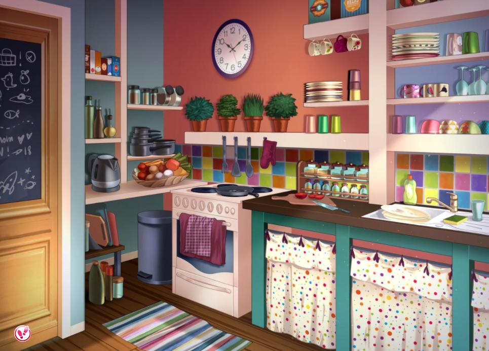 Une Cuisine Coquette Tout Droit Sorti Du Jeu Amour Sucre Couleur Kitchen Colorfull Cuisine Dessin Idees Pour La Maison Jeux Amour