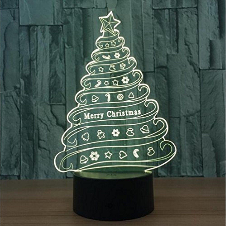 LUCKY CLOVER-A Christmas Tree 3D LED 7 Color Optical Illusion ...