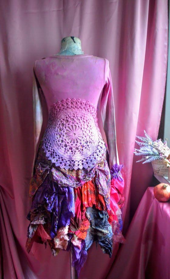 Bohemio romántico Vestido de alta costura de tamaño M/S   crochet ...