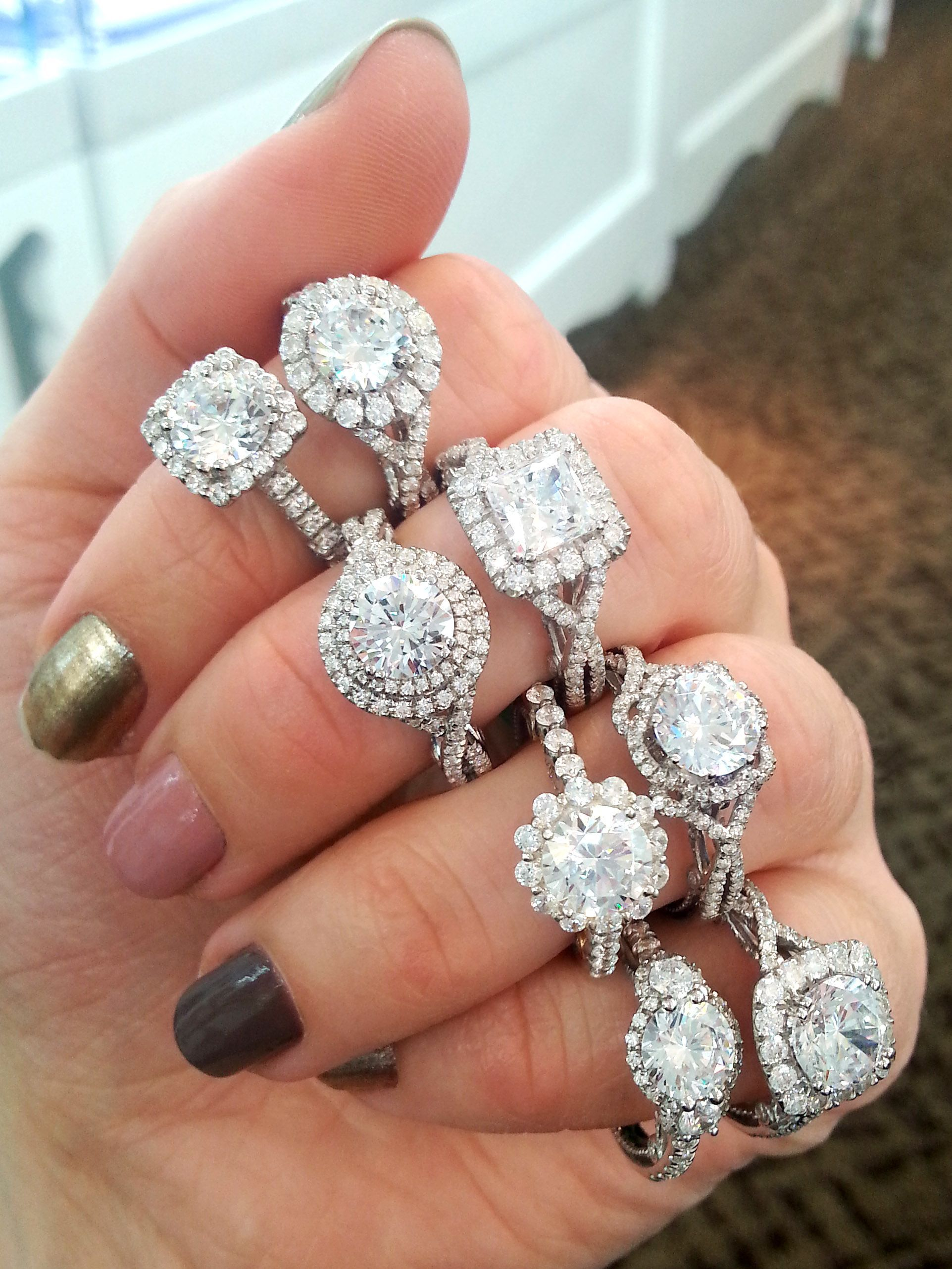 Verragio Halo Engagement Rings Middle Finger Top Ring Um