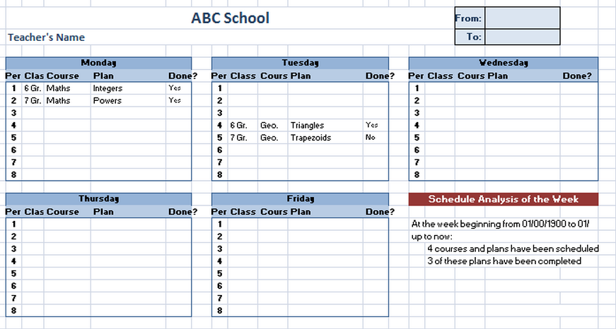 Free Printable Class Schedule Template  Guidelines For Making A