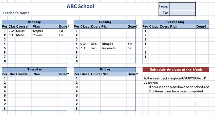 making class schedule