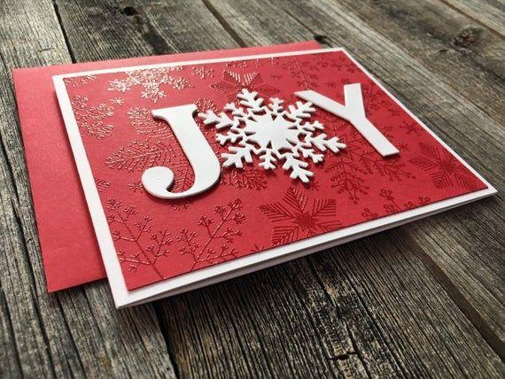 Set of 5 Joy Christmas Cards, Handmade Blank Christmas Notecards, Holiday Snowflake Cards Set