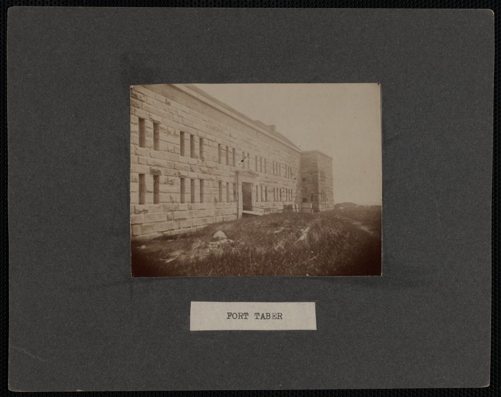 Black and white photo of one side of Fort Taber (also