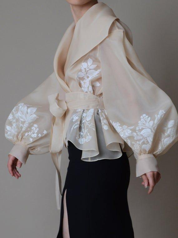 Photo of Hand painted organza jacket ; Silk organza blouse ; Elegant bolero – Colors available ;  Veste en Organza de Soie
