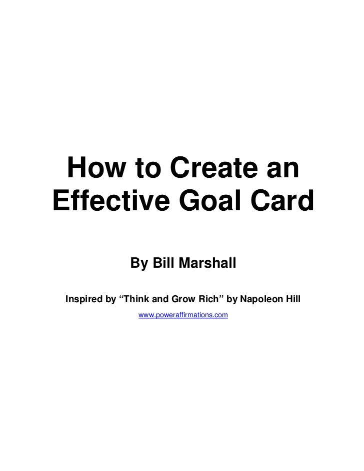 How To Create An Effective Goal Card By Bill Marshall Inspired By