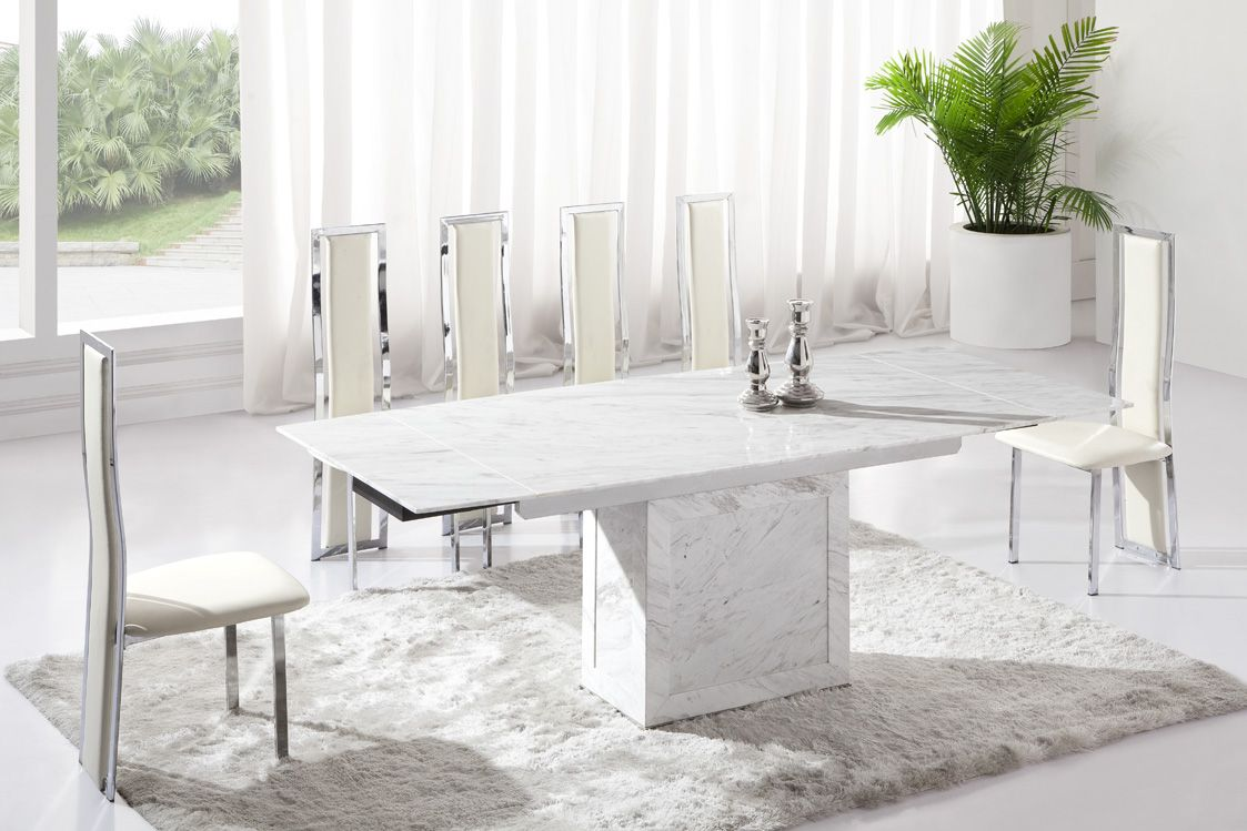 Dining Room Awesome White Marble Table For 6 Best Chairs Above Ceramic Floor Used Carpet Around Wall Curtain
