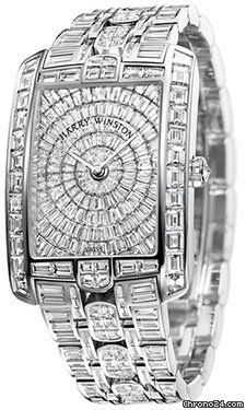 Harry Winston Avenue C Diamond Encrusted Pave Dial Mens Watch In 18kt White Gold w Baguette Diamond Accents - Not For The Faint Hearted!