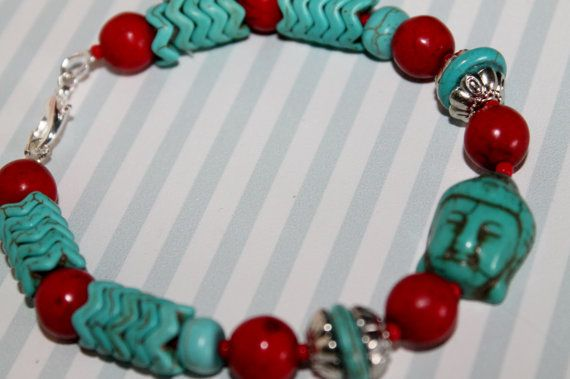 Turquoise Boho bracelet with red bead by Ingelinestreasures
