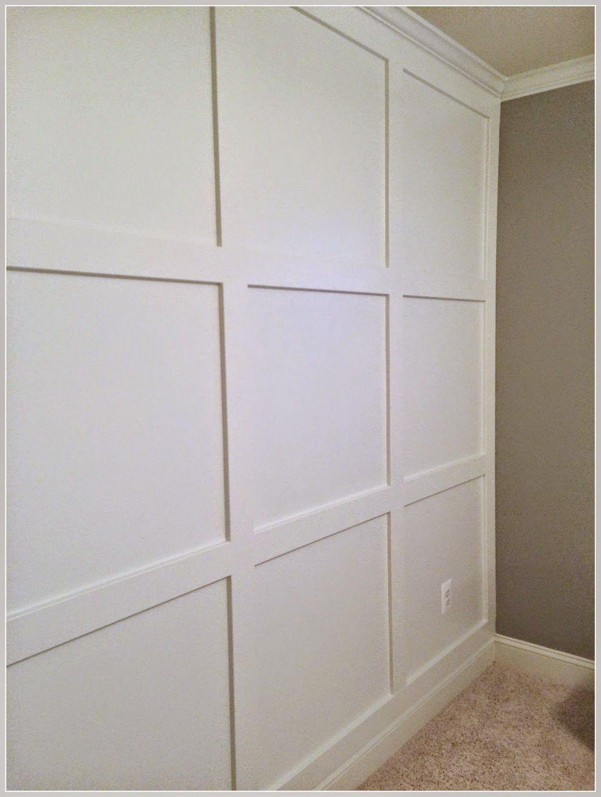 diy square molding accent wall with crown happily island. Black Bedroom Furniture Sets. Home Design Ideas