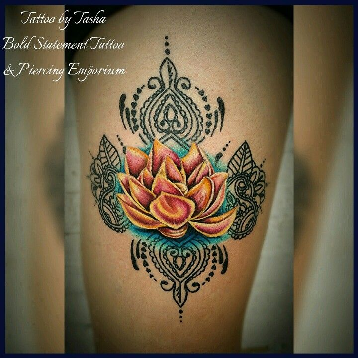 Colorful lotus tattoo with paisley/Hindu design