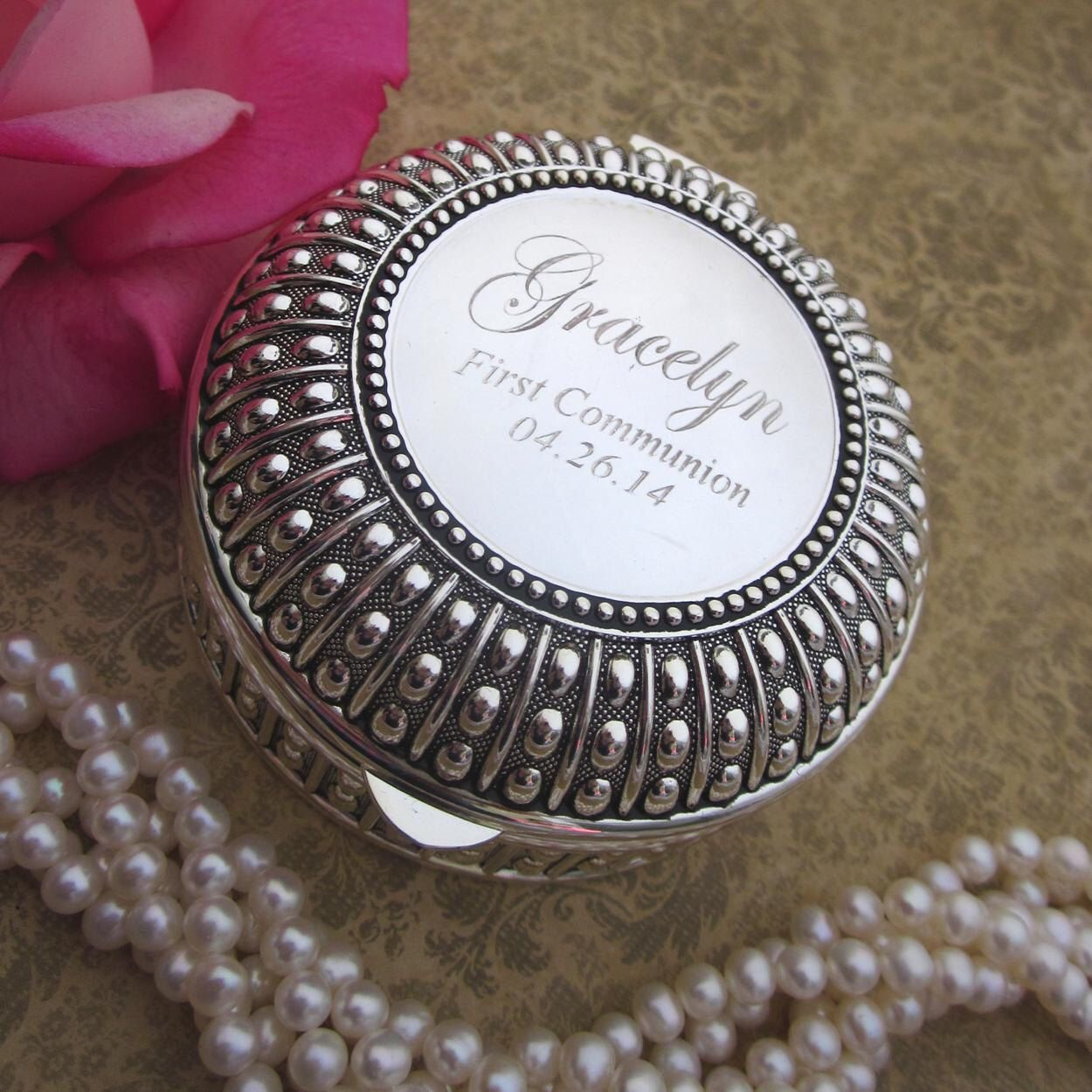 Personalized Trinket Box Engraved Jewelry Box FIrst Communion