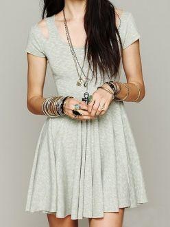 Grey Hollowed Shoulder Round Neck Cap Sleeve Plain Pleated Dress