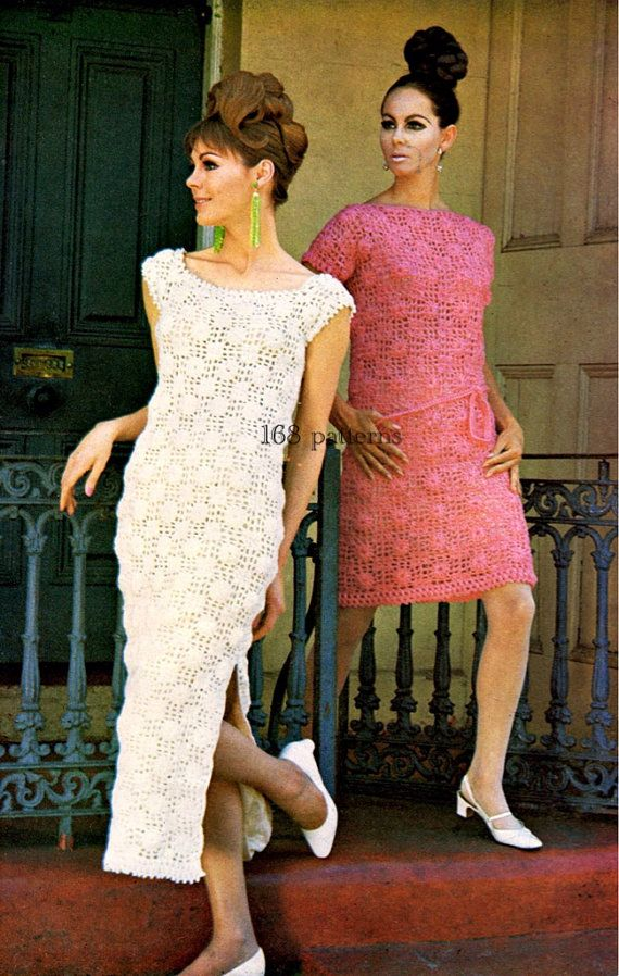 Crochet PDF pattern vintage long and short motif door Pattern168