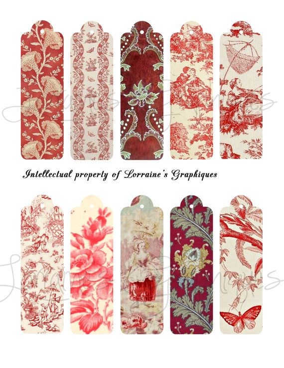 Antique French Red Toile Skinny Digital by LorrainesGraphiques