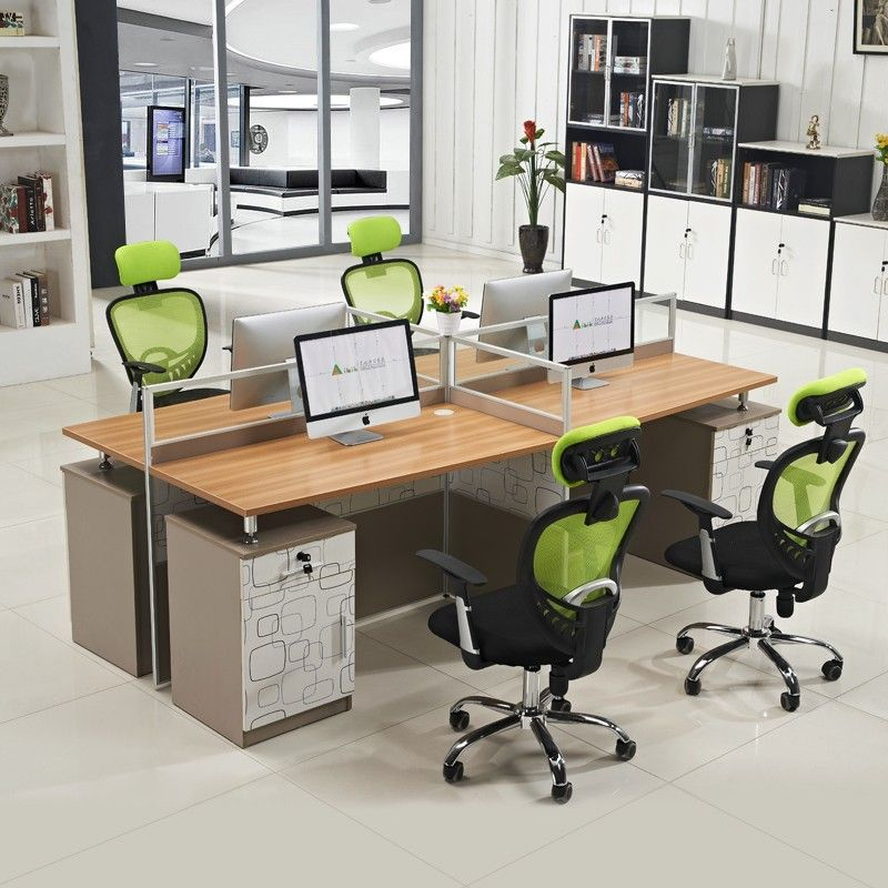 Low Price Eco Friendly Modern 4 Person Office Computer Wooden