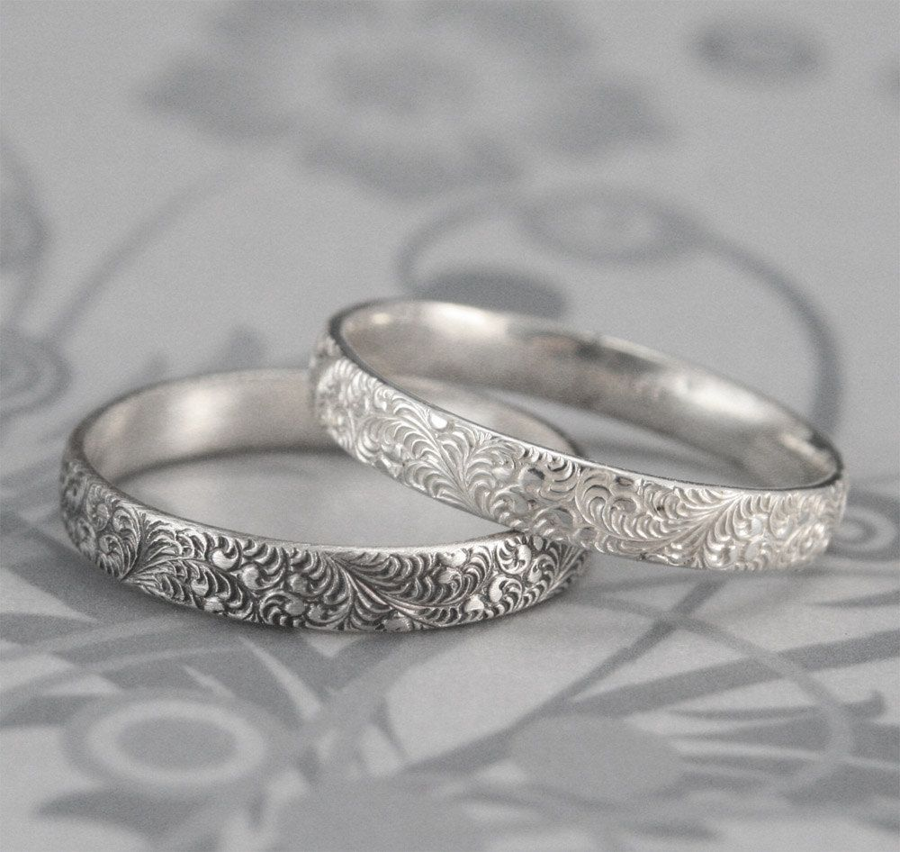 Birds Of A Feather Silver Wedding Band Elegant Swirl Design In Sterling