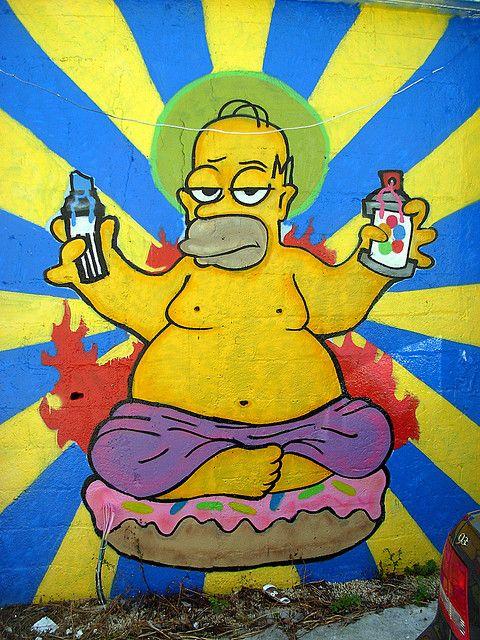 Graffiti Homer Arte De Rua Desenho Dos Simpsons E Artes
