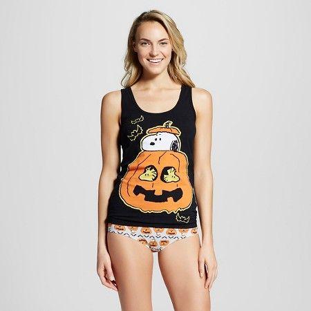 Peanuts Women's Undershirt And Bottom Sets - Black XS : Target