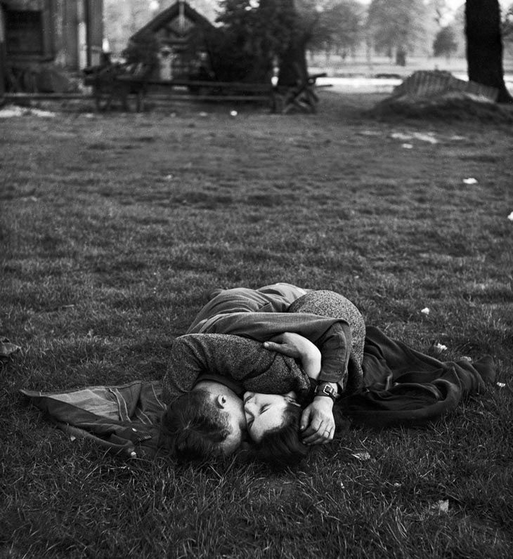 American Soldier Kissing His English Girlfriend On Lawn In Hyde