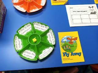Teach story elements with dollar store snack tray and dice.  Printables included!