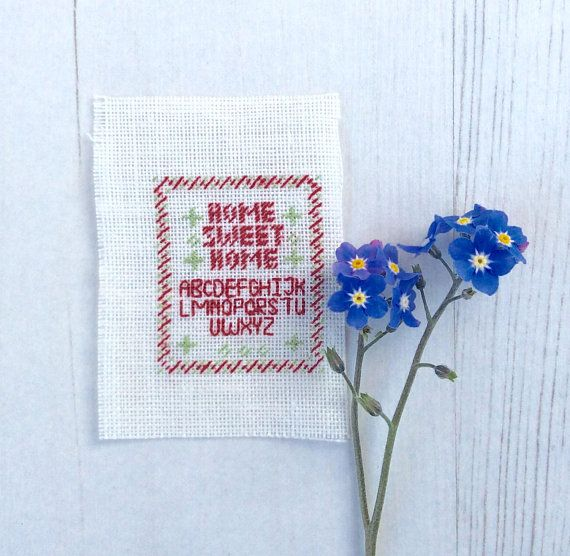 Doll House Miniature Hand Embroidered Cross Stitch Picture