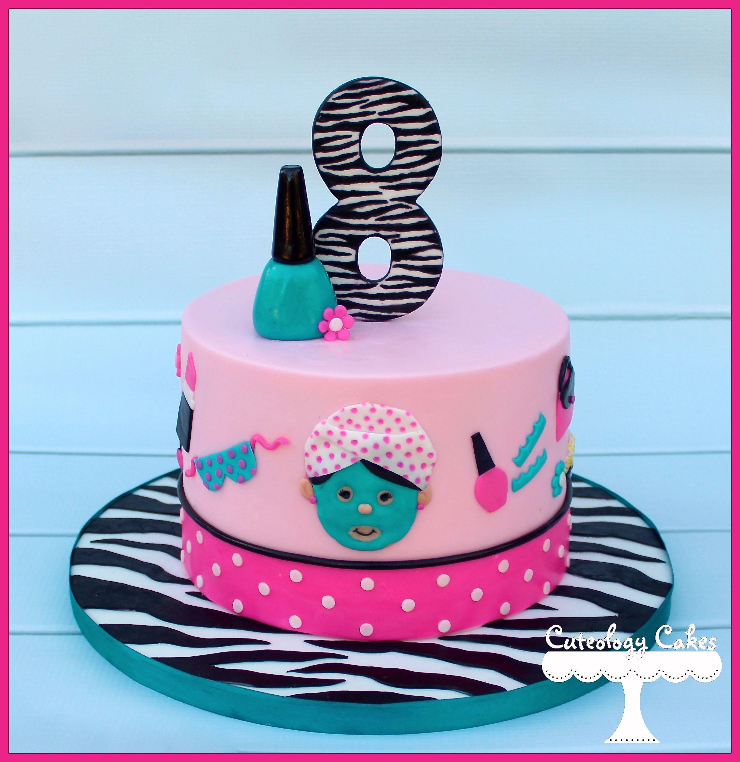 Spa Themed Birthday Cake Wwwfacebookcomilovecuteologycakes - Spa birthday party cake