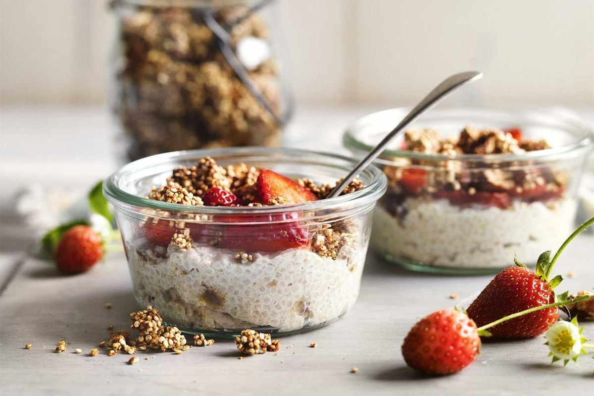 Coconut Chia Pudding With Gluten Free Spiced Granola Recipe Coconut Chia Pudding Recipes Chia Pudding