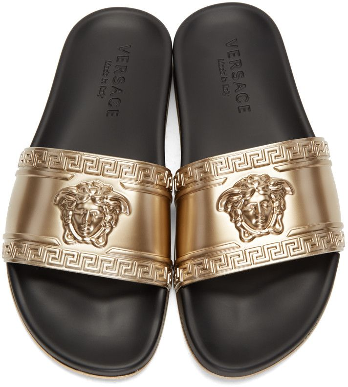 c69c30603c3c VERSACE Gold Metallic Medusa Head Beach Slide Sandals