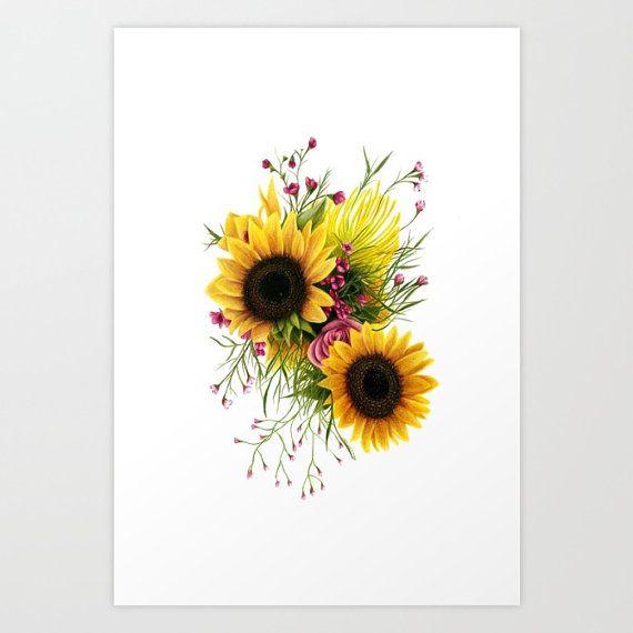 Floral 3 Sunflower Print Tatuajes Girasoles Girasoles Dibujo