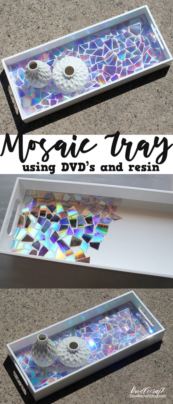 Photo of Recycled DVD's Mosaic Resin Tray