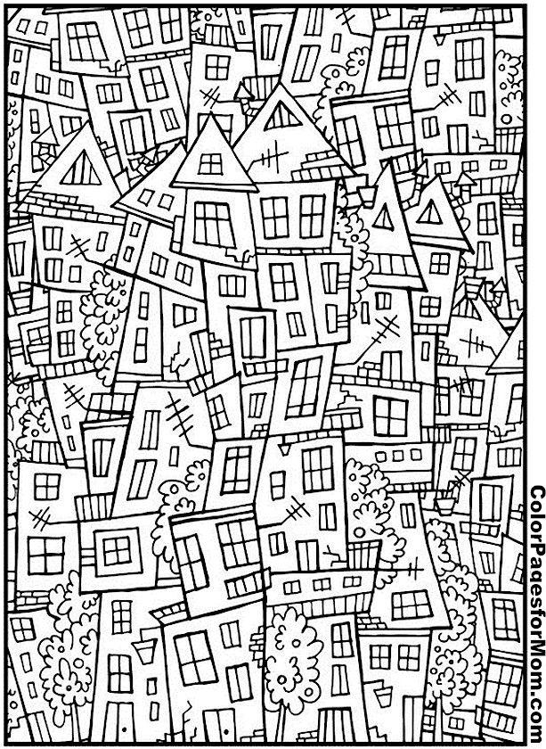 House Coloring Page 3 | Zentangle - Ausmalbilder für Große ...