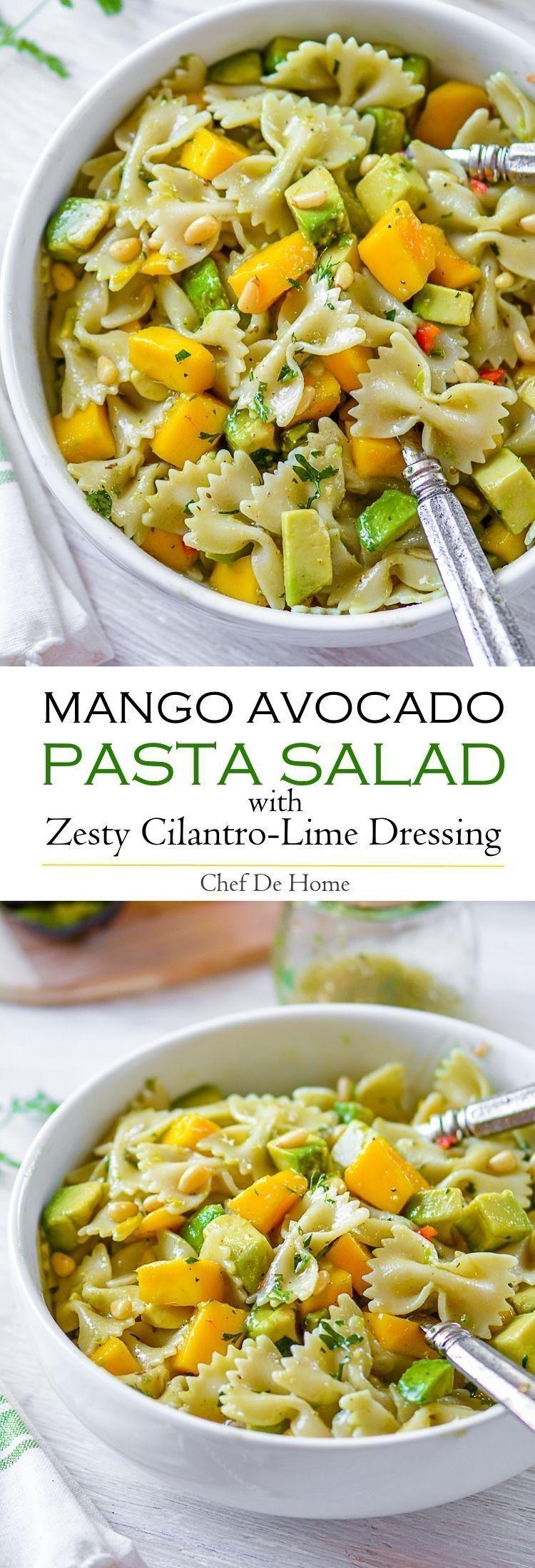 Photo of Mango Avocado Pasta Salad with Cilantro Lime Dressing Recipe   ChefDeHome.com