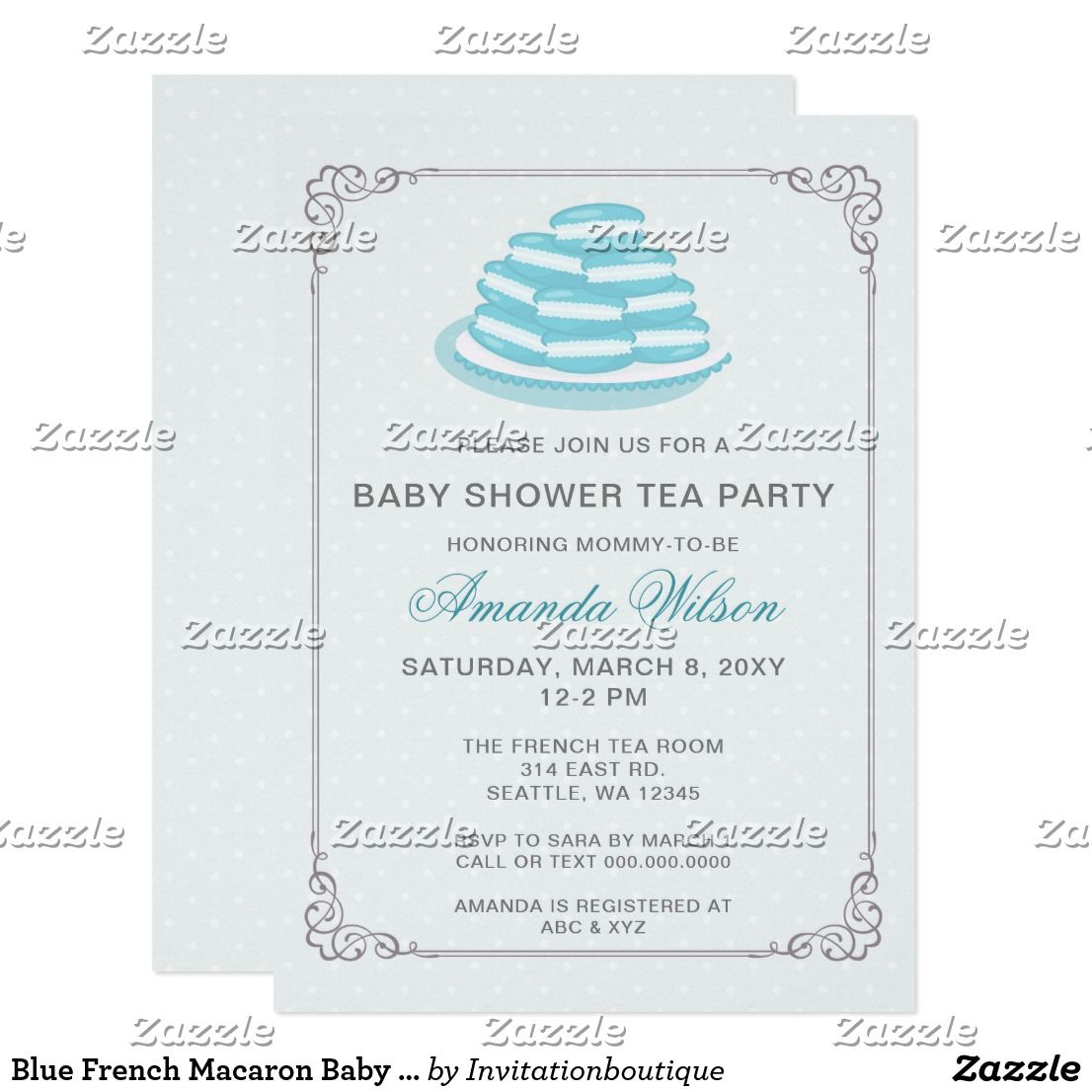 Blue French Macaron Baby Shower Tea Party Invites | baby shower ...