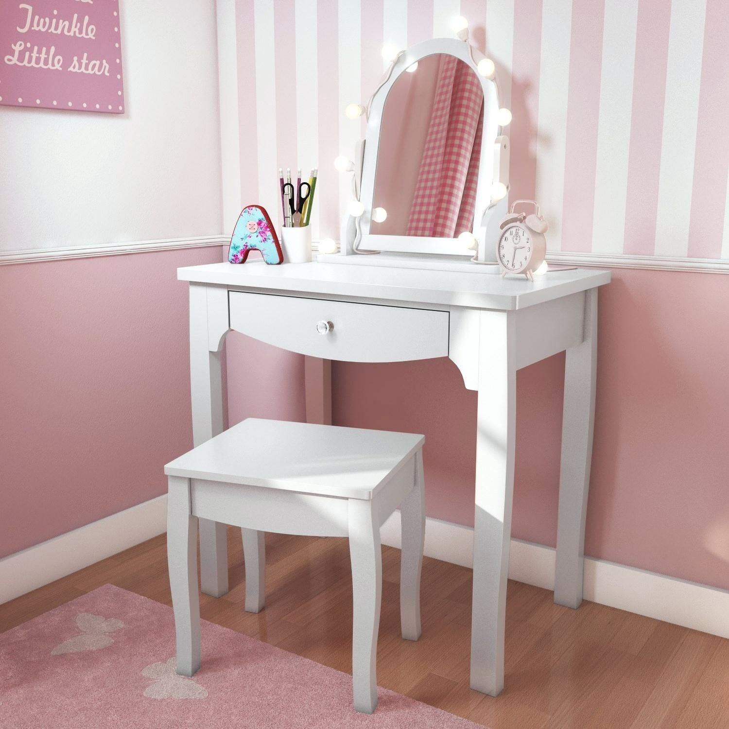Girls Vanity Table And Stool Girls White Dressing Table With Stool