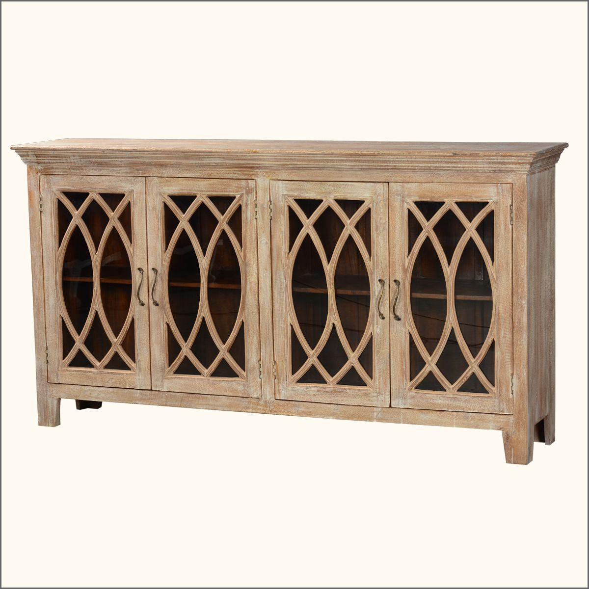 81 5 Solid Wood Glass Door Sideboard 4 Door Rustic Buffet Cabinet