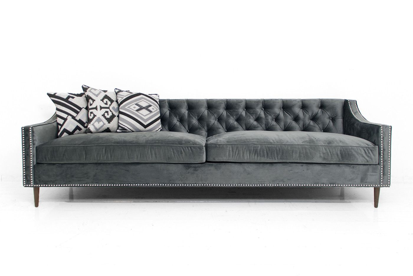 Charcoal Gray Tufted Sofa Small Modular Sectional Audrey In Velvet Seating Pinterest