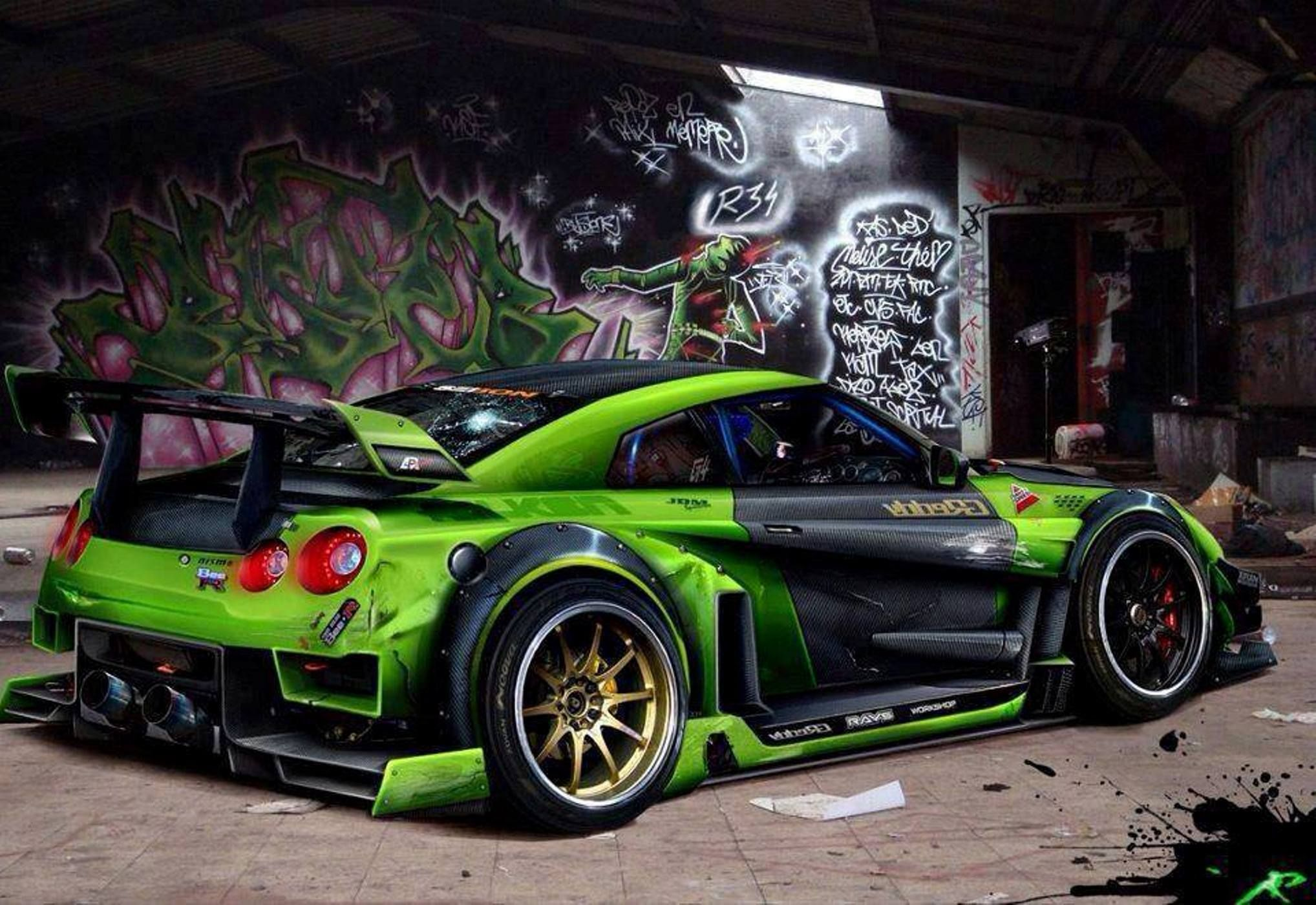Nissan Gt R Green Widebody Extreme Modified Cars Pinterest