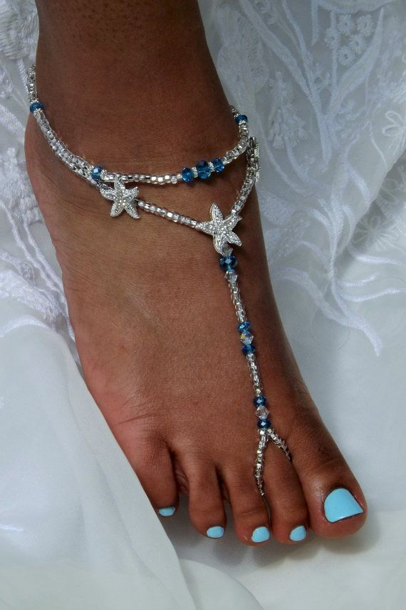 2ddc900679cb7a Barefoot Jewelry ONE PAIR by SubtleExpressions on Etsy · Wedding Accessories AnkletsGlass BeadsBarefootBeadworkDesignsCrystal RhinestoneStarfishCrystals